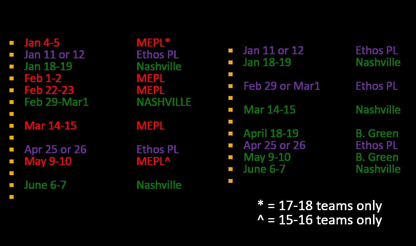Elite Schedules 2020
