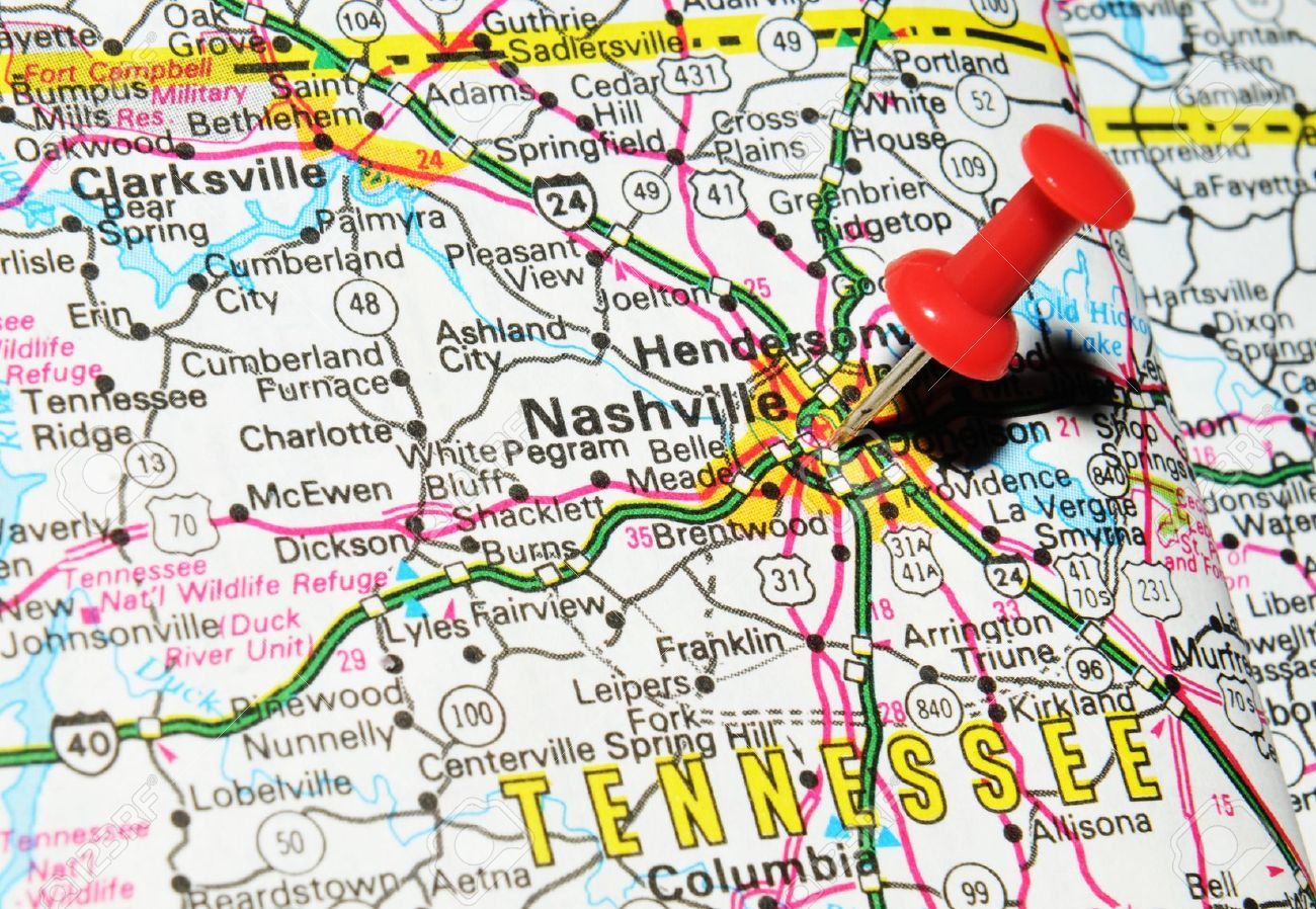 14500643-london-uk-13-june-2012-nashville-tennessee-marked-with-red-pushpin-on-the-united-states-map